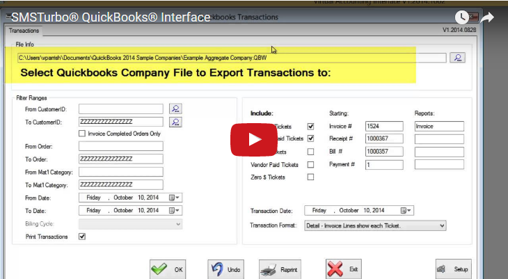 SMSTurbo Ticketing and QuickBooks