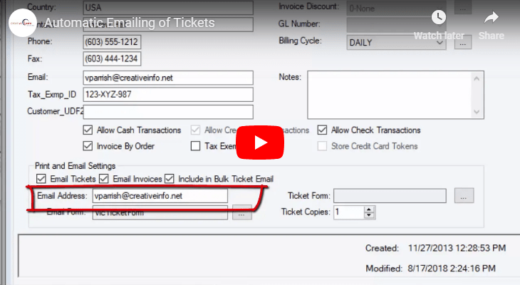 Automatically Email Smsturbo Tickets to Customers